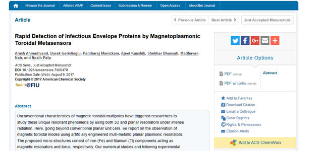 Our Paper is Published in ACS Sensors