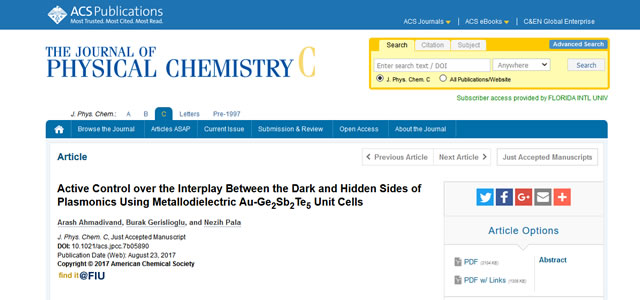 Our Paper is Published in The Journal of Physical Chemistry C