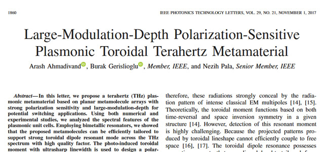 Our Paper is Published in IEEE Photonics Technology Letters