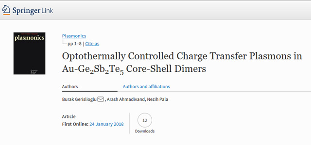 Our Paper is Published in the Plasmonics journal
