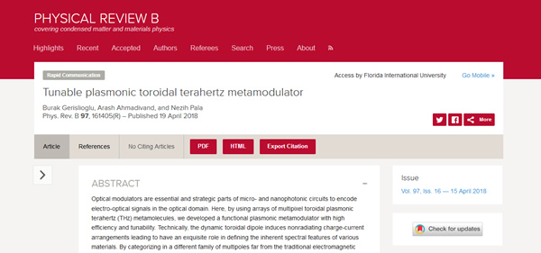 Our Paper is Published in the Physical Review B